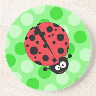 Ladybug on Polka Dots Drink Coasters