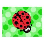 Ladybug on Polka Dots Post Cards