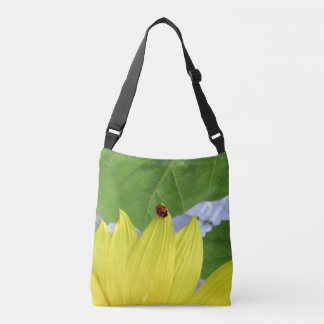 ladybug on sunflower crossbody bag