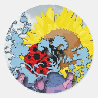 Ladybug on Sunflower Round Sticker