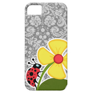 Ladybug on Vintage Gray Damask Pattern iPhone 5 Cases