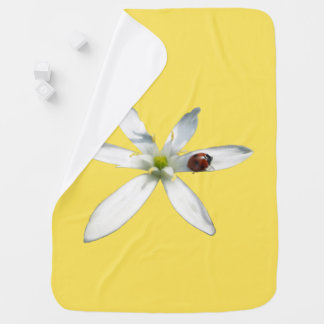 Ladybug on White Flower Baby Blanket