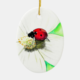 Ladybug on White Flower Christmas Ornament