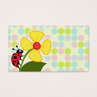 Ladybug Pastel Colors, Polka Dot Business Card