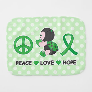 Ladybug Peace Love Hope Green Awareness Ribbon Baby Burp Cloth
