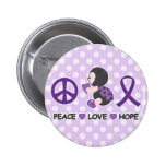 Ladybug Peace Love Hope Purple Awareness Ribbon 6 Cm Round Badge