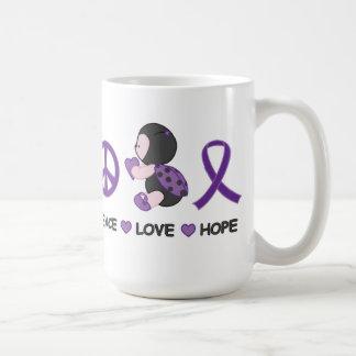 Ladybug Peace Love Hope Purple Awareness Ribbon Basic White Mug