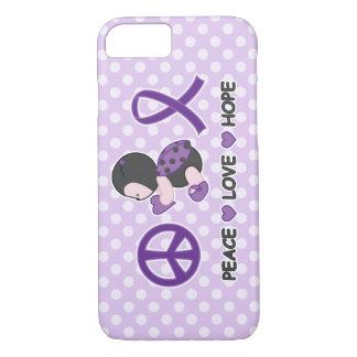 Ladybug Peace Love Hope Purple Awareness Ribbon iPhone 7 Case