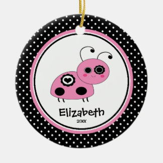 Ladybug Personalized Girl Christmas Ornament Pink
