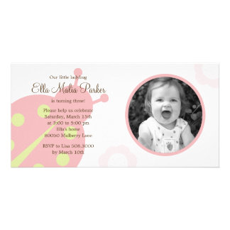 Ladybug Photo Birthday Invitation Photo Card