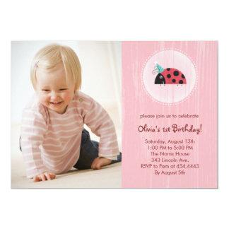 Ladybug Photo Card Birthday Invitations