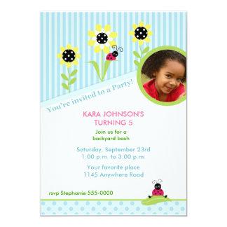 Ladybug Photo Garden Birthday Invitation