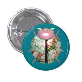 Ladybug - Pink Flowers / Light Blue Background 3 Cm Round Badge