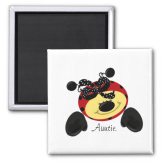 Ladybug Polka Auntie Square Magnet