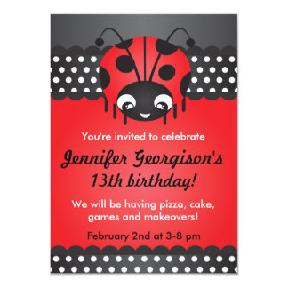 Ladybug Polka Dot Birthday Party Invitation