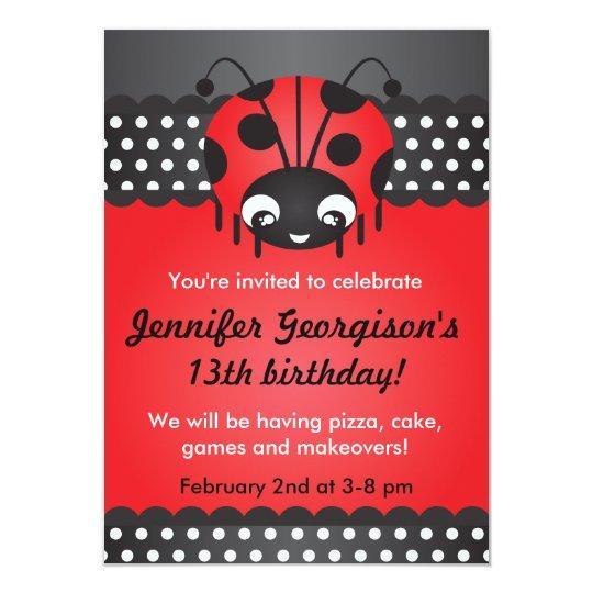 Ladybug Polka Dot Birthday Party Invitation