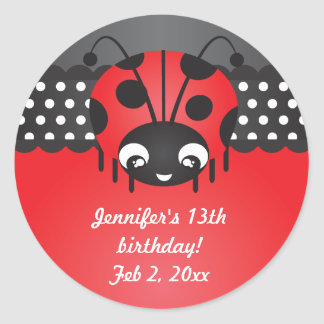 Ladybug Polka Dot Birthday Party Stickers