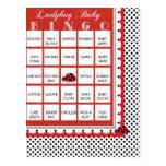 Ladybug Polkadots Baby Shower Bingo Card 1