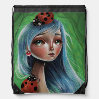LadyBug Pop Surrealism Illustration Drawstring Bag