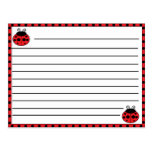 Ladybug Recipe Card Postcard