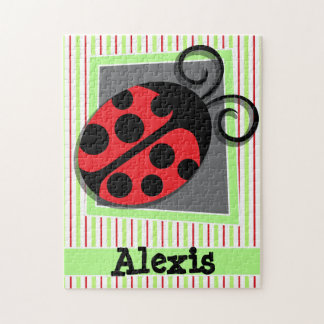 Ladybug; Red and Lime Green Stripes Jigsaw Puzzle