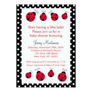 "Ladybug Red Black Dots Baby Shower Invitation 5"" X 7"" Invitation Card"