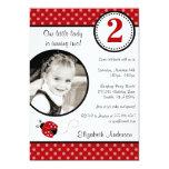 Ladybug Red Black Polka Dot Girl Photo Birthday 13 Cm X 18 Cm Invitation Card