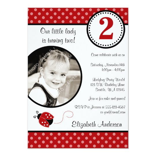 Ladybug Red Black Polka Dot Girl Photo Birthday