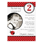 Ladybug Red Black Polka Dot Girl Photo Birthday Personalised Announcement
