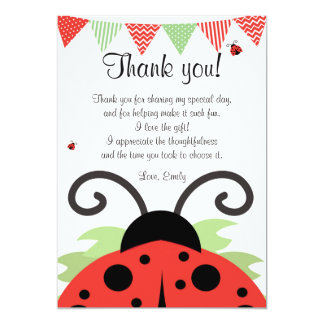 Ladybug Red Black Thank You Card Note