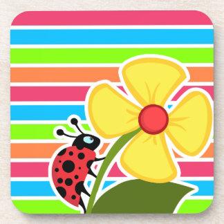 Ladybug Retro Neon Rainbow Coaster