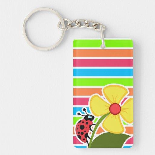 Ladybug; Retro Neon Rainbow Rectangle Acrylic Keychains