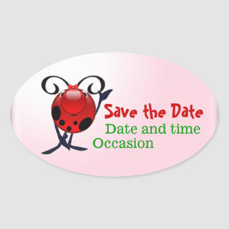 Ladybug save the date oval sticker