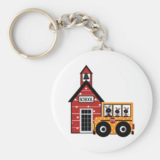 Ladybug School and School Bus Tshirts and Gifts Basic Round Button Key Ring