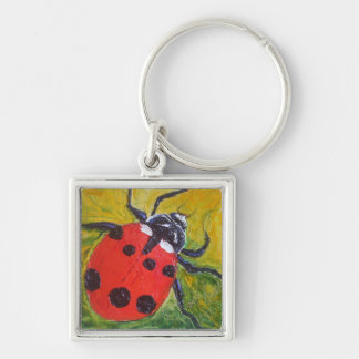 Ladybug Silver-Colored Square Key Ring