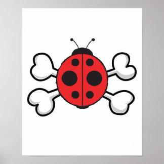 ladybug Skull and Crossbones Poster