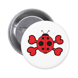ladybug Skull red Crossbones 6 Cm Round Badge