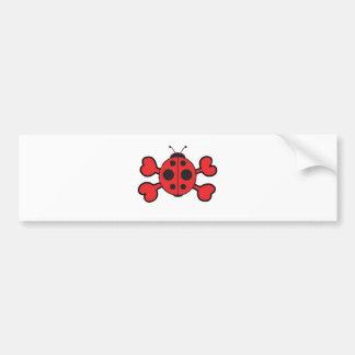 ladybug Skull red Crossbones Bumper Sticker