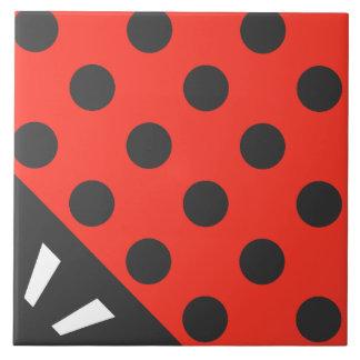 Ladybug Square Black and Red Tile