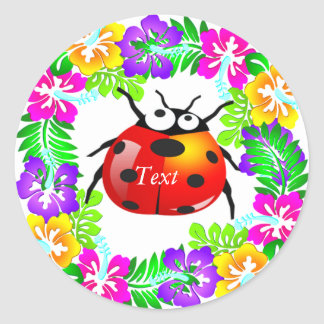 ladybug standing on colorful hibiscus flowers round sticker