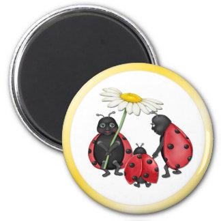 Ladybug Stroll 6 Cm Round Magnet