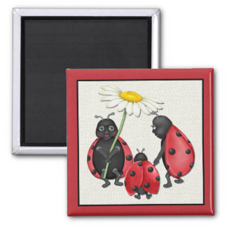 Ladybug Stroll Square Magnet