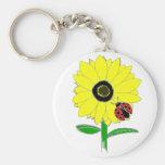 LadyBug & Sunflower Basic Round Button Key Ring