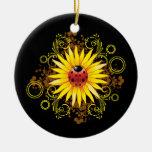 Ladybug Sunflower Ornament