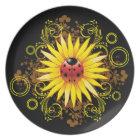 Ladybug Sunflower Plate