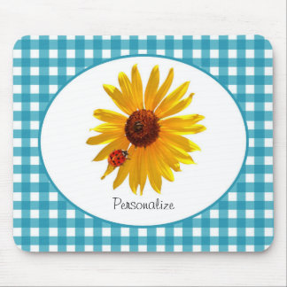 Ladybug Sunflower Turquoise Gingham With Name Mouse Mat