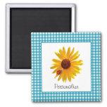 Ladybug Sunflower Turquoise Gingham With Name Square Magnet