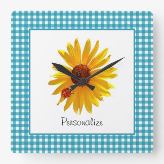 Ladybug Sunflower Turquoise Gingham With Name Square Wall Clock