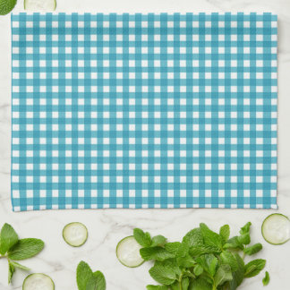 Ladybug Sunflower Turquoise Gingham With Name Tea Towel