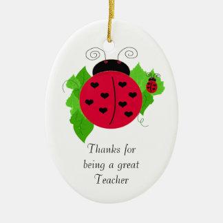 Ladybug Teacher Thanks Christmas Ornament
